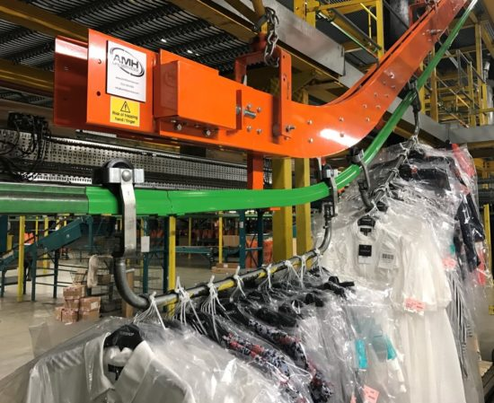 Overhead conveyors are ideal for garments on hanger solutions